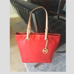 Large Michael Kors red & natural leather tote